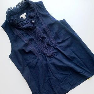 J. Crew Navy Ruffle Mock Neck Blouse